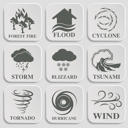 landslide: Natural disaster icons black set with tsunami snow storm thunder isolated vector illustration