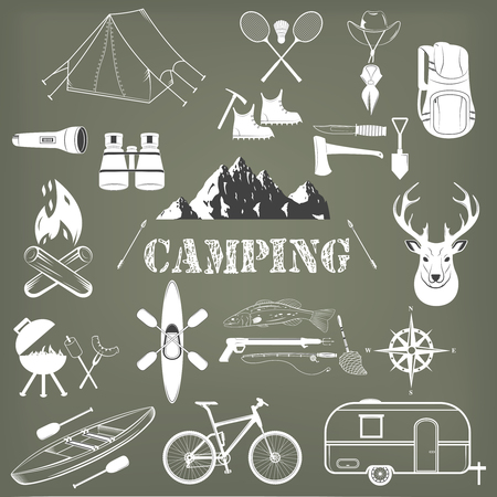 small lamp: Set of camping equipment symbols and icons. Vector Illustration