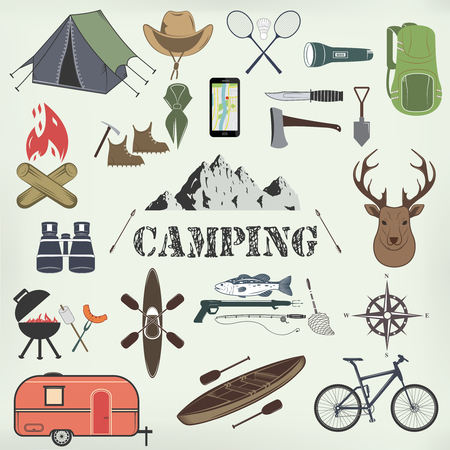 boy scouts tent: Set of camping equipment symbols and icons. Vector Illustration