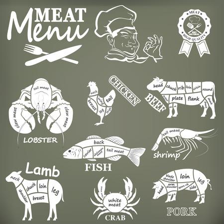 Menú cárnico. Conjunto de etiquetas de carnicería y elementsn diseño