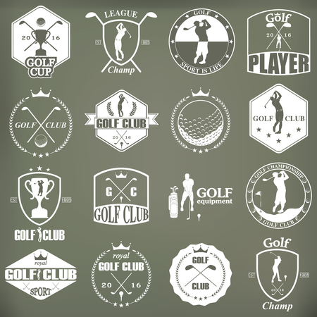 golf stick: Set of vintage golf labels, badges and emblems