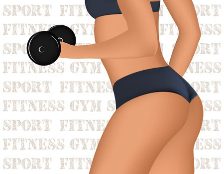 muscled: Fitness Club or Gym emblem with training muscled woman. Illustration