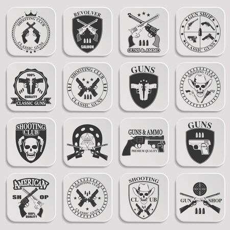 pistols: Classic Guns emblem with pistols vector illustration