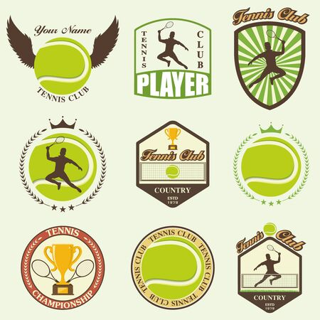 keds: illustration of various stylized tennis icons