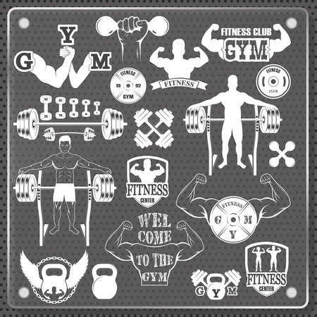 hand lifting weight: Vintage Weight Lifting Labels and Stickers. Gym icon Illustration