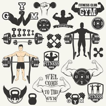levantando pesas: Peso de elevación de la vendimia etiquetas y pegatinas. icono de gimnasia Vectores