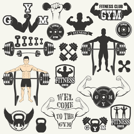 Vintage Weight Lifting Labels and Stickers. Gym  icon