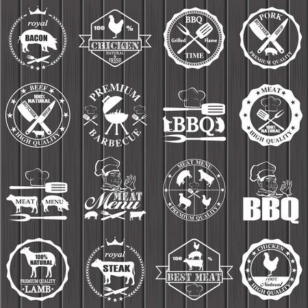 butcher shop: Set of butcher shop labels and design elements