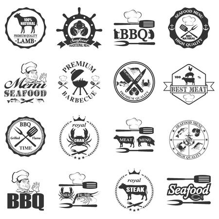 butcher shop: set of seafood labels and butcher shop labels. Vector illustration