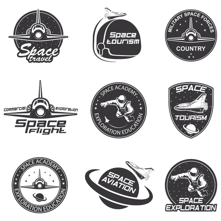 outer clothing: Set of retro and modern space travel badges and labels