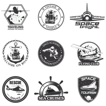 aeronautics: Set of vintage space, nautical, aeronautics flight  emblems, labels, badges and logos Illustration