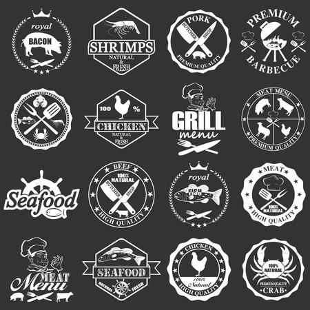 set of seafood labels and butcher shop labels. Vector illustration