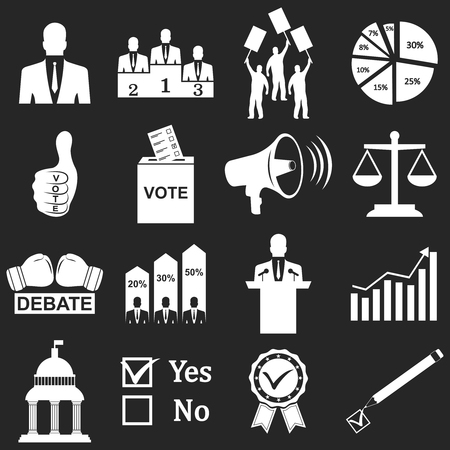 voting: Politics, Voting and elections icons - vector icon set Illustration