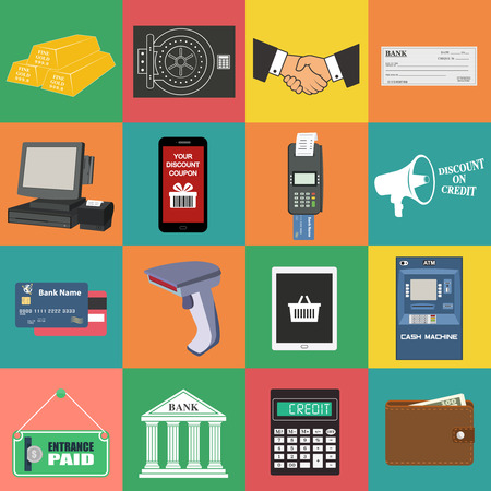 nfc: Flat concept vector illustrations set of payment methods such as credit card, nfc, mobile app, atm, terminal, website, bank transfer, cash and invoice