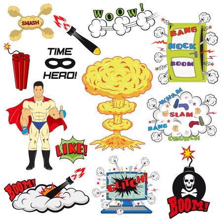 computer crash: Set of Retro Comic Book Vector Design elements, Speech and Thought Bubbles