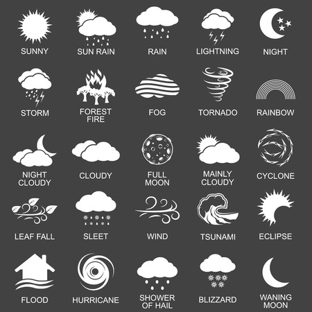 snow storm: Natural disaster icons black set with tsunami snow storm thunder isolated illustration