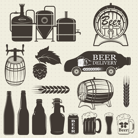 brewery: Vintage craft beer brewery emblems, labels and design elements