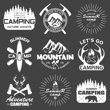 small lamp: Set of camping equipment symbols and icons Illustration