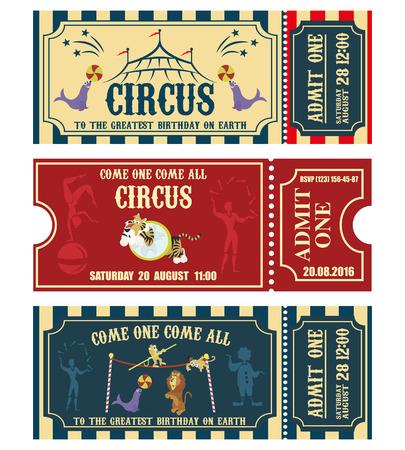 Vintage Circus banner collection. Ticket invitation illustration