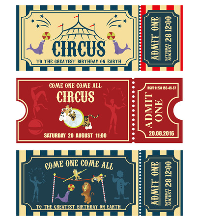 Vintage Circus banner collection. Ticket invitation illustration