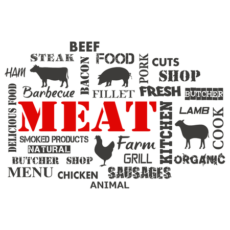 Meat. Text set of butcher . Vector illustration  イラスト・ベクター素材