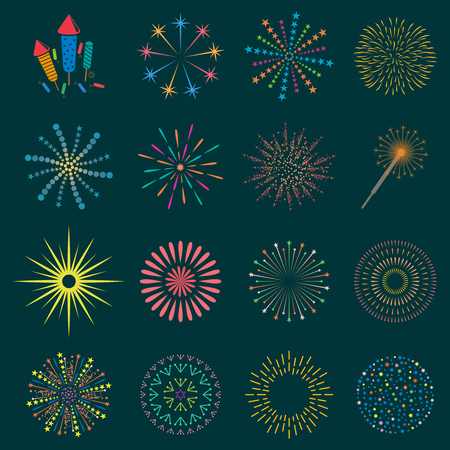 Firework icon set with petard, stars. Festival and event, celebrate and party