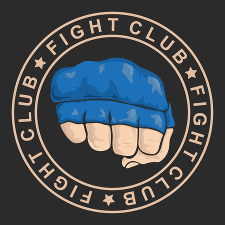 emblem about fighting club. Monochrome graphic style