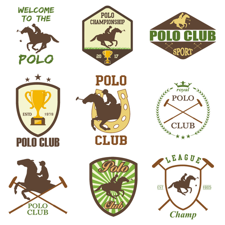 outdoor event: Set of vintage horse polo club labels Illustration