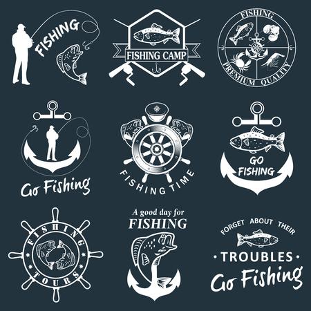 Set of vintage fishing labels, badges Illustration
