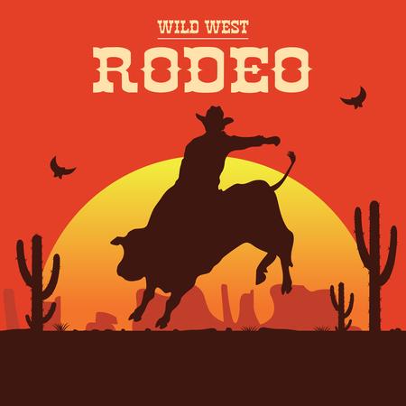 Rodeo cowboy riding a wild bull