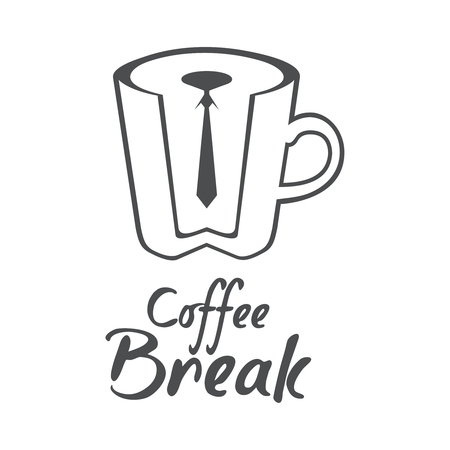 Coffee label isolated on white background. Design element. Template for logo, signage, branding design. Illustration