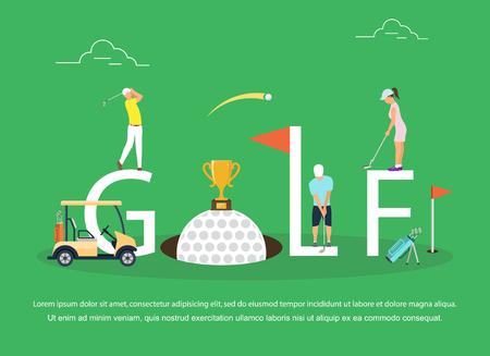 Vektorillustration von den jungen Leuten, die Golf spielen. Vektorgrafik