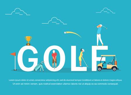 Illustration vectorielle des jeunes qui jouent au golf.