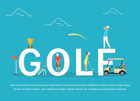 Vectorillustratie van jonge mensen die Golf spelen.
