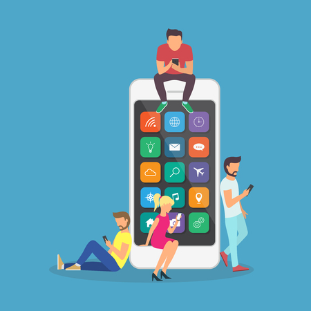 Young children are near a large smartphone and using phones to read news and communicate. Illustration