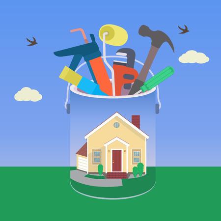 Huis met gereedschap in kleurrijk ontwerp Stock Illustratie