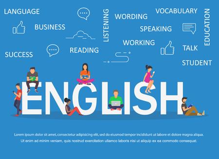 Engels woord voor onderwijs met pictogrammen plat ontwerp