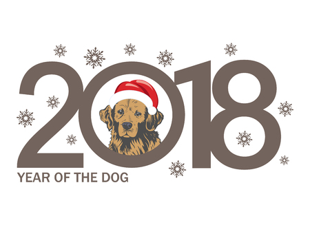 Year of the Dog 2018. template New Years design on the Chinese calendar.