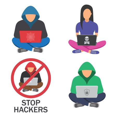Hackers with laptop, hacking the Internet, concept vector illustration, activity, computer security technology concept Illustration