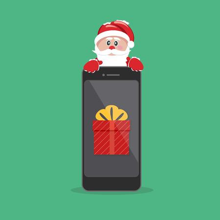 サンタ クロースは、携帯電話上の贈り物。  イラスト・ベクター素材