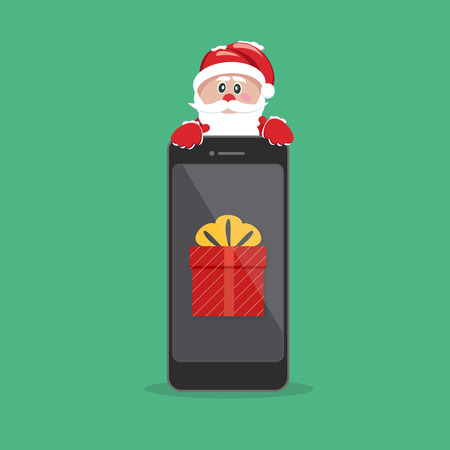 Santa Claus giving gift on phone. Иллюстрация