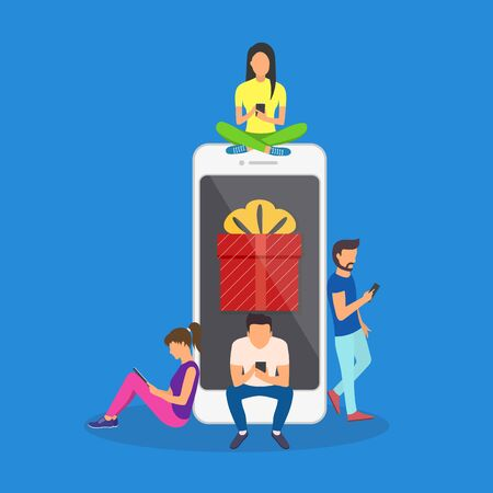 Flat men and women standing near big smartphone with gift box on screen.