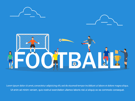 Vector illustration of young people playing Football .