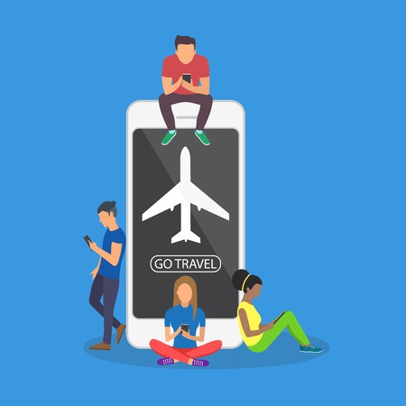 Young people near a large smartphone and using the phone to buy a plane ticket.