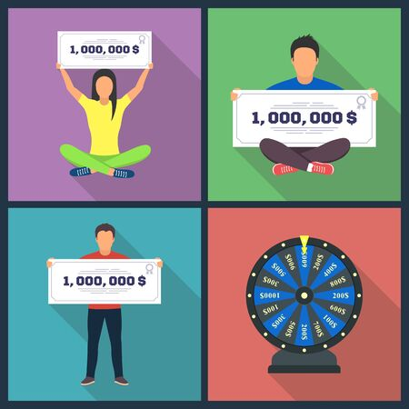 Lottery design concept set with winning combinations, flat icons, isolated vector illustration