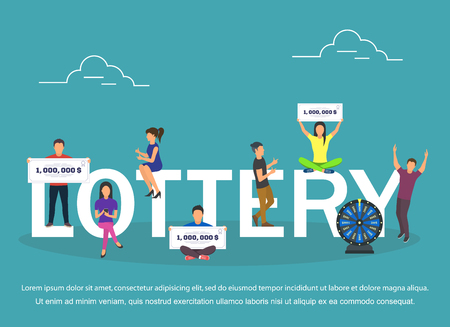 Lottery concept set with winning combinations flat design Illustration