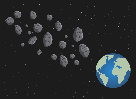 Flat asteroids and planet Earth. Space danger. Space illustration. The starry sky