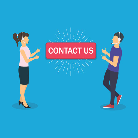 Woman and man pointing by index fingers to the button with the inscription contact us. Flat design