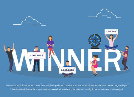 Winner concept set with winning combinations flat design.Vector illustration
