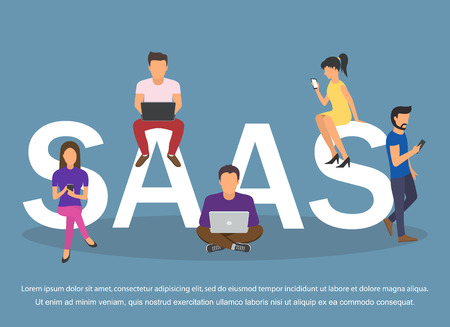 Concept of SaaS, software as a service. Men and women work in the cloud software on computers Illustration